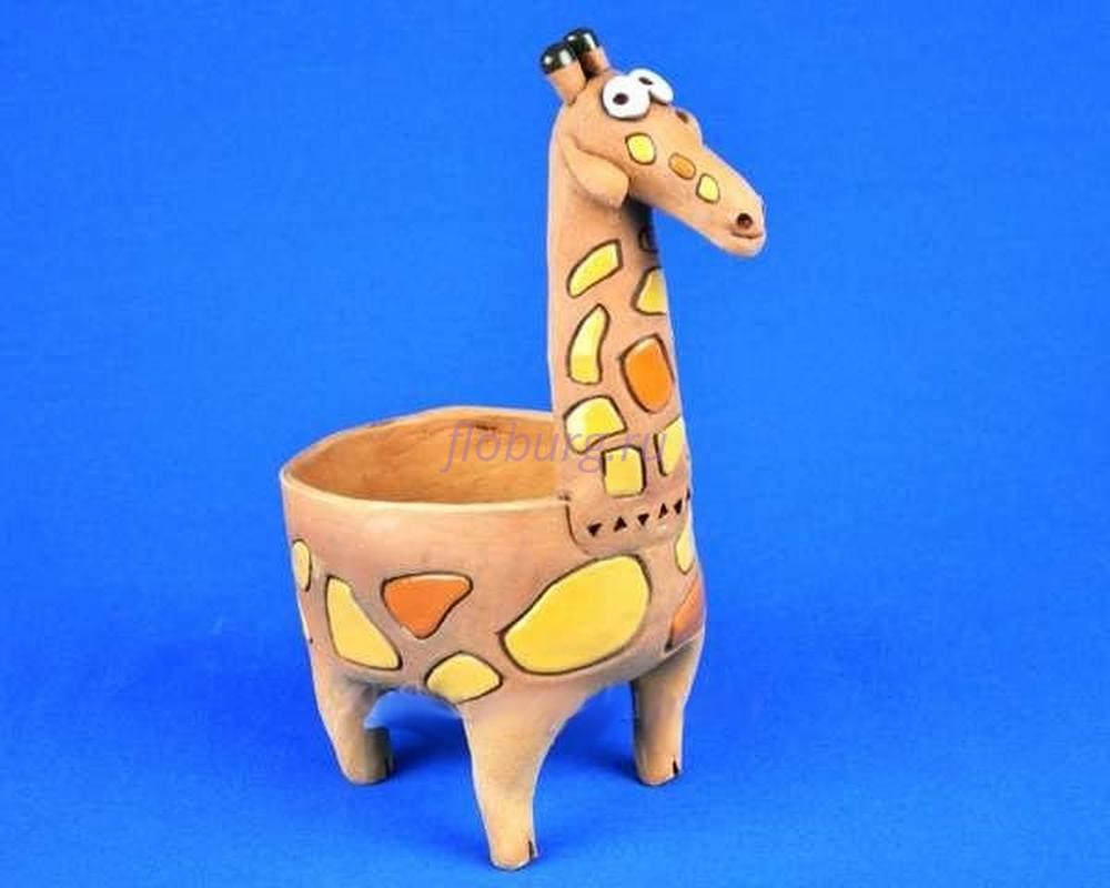 Кашпо керамическое без поддона и дренажного отверстия Жираф