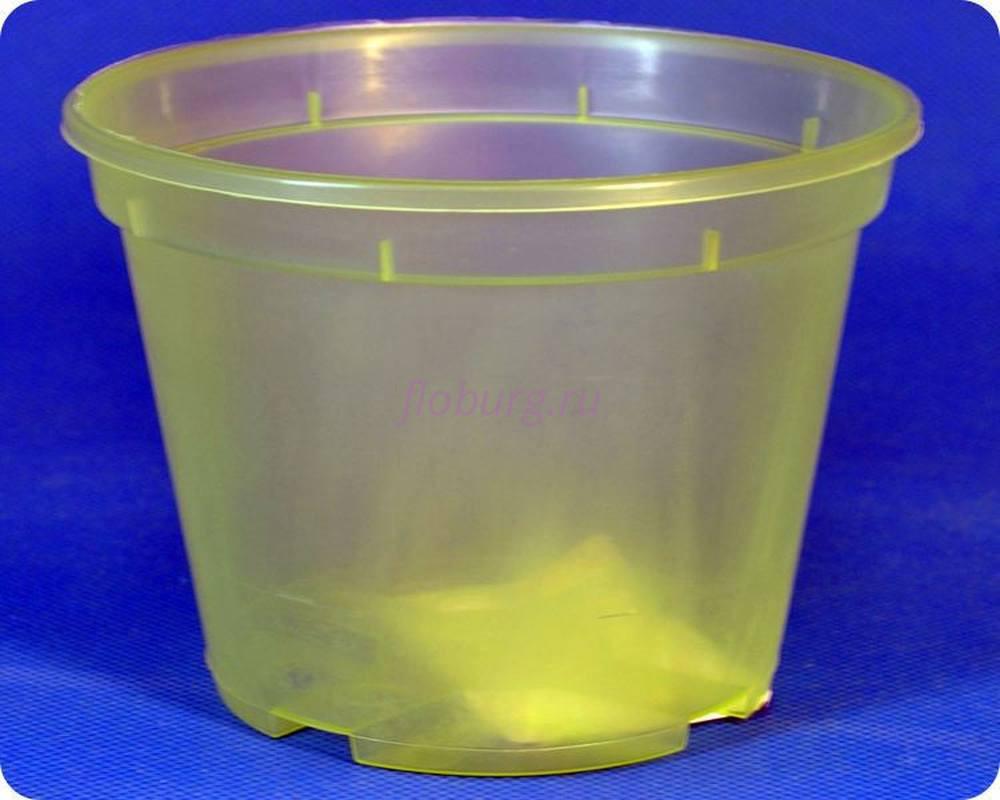 Кашпо пластиковое «Дренажное» d11см h8см (салатово-прозрачное)