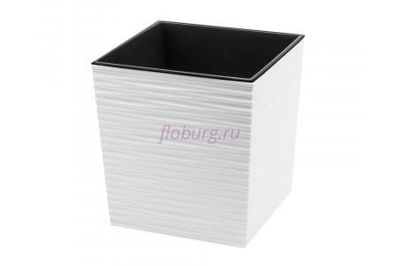 Кашпо со вставкой пластиковое без поддона и дренажного отверстия Juka dluto 30x30x31см  (бел) 600-05