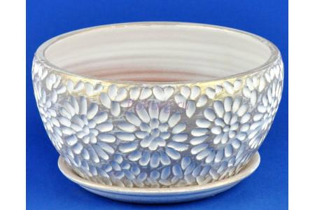 Горшок для цветов керамический с поддоном Астра плошка бел/жемч.22см 4-23 (27-223)