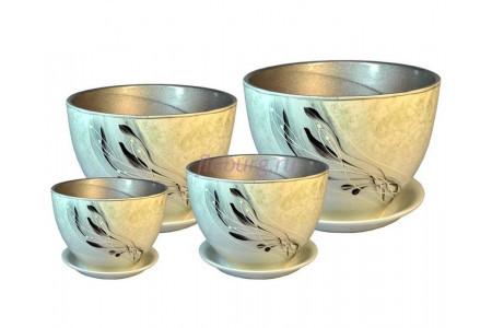 Горшки для цветов керамические в наборе из 4-х «РС307 Венеция Корсика»