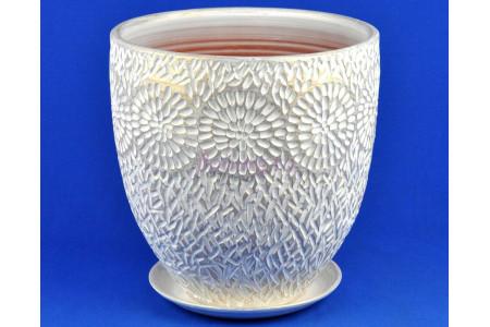 Горшок для цветов керамический с поддоном АСТРА бутон 4 бел/жемч. А1-423  5-23
