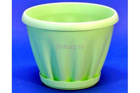 Горшок для цветов пластиковый с поддоном Знатный 0,45л (зеленый)