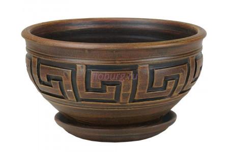 Горшок для цветов керамический с поддоном Меандр миска шок.26см 4-05 (16-105)