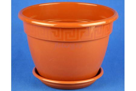 Горшок для цветов пластиковый с поддоном Антик с под.17 (тер)