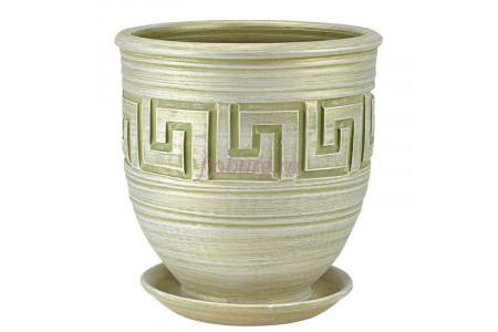 Горшок для цветов керамический с поддоном Меандр коба оливка 26см 4-24  12-224
