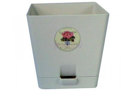 Горшок для цветов пластиковый с поддоном «Le parterre» 2,0л (кремовый)