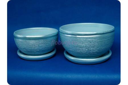 Комплект из 2-х горшков из керамики с поддонами «Фиалка металлик голубой»