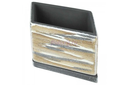 Горшок для цветов керамический с поддоном ДВ-темный Ромб d21/h12см NK02/20