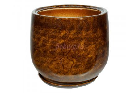 Горшок для цветов керамический с поддоном «Тюльпан №2» коричневый 26л