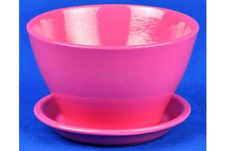 Горшок для цветов керамический с поддоном Беллита Глянец роз.12см ГЛ904/1