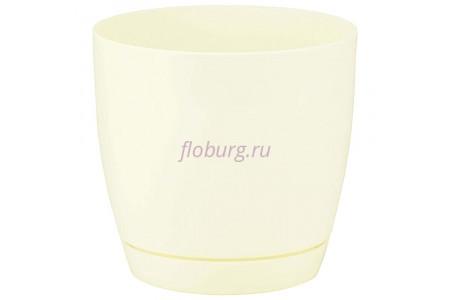 Горшок для цветов пластиковый с поддоном Toscana круг.13см (крем) 0741-001