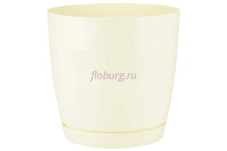 Горшок для цветов пластиковый с поддоном Toscana круг. 9л с под.(крем) (0746-001)