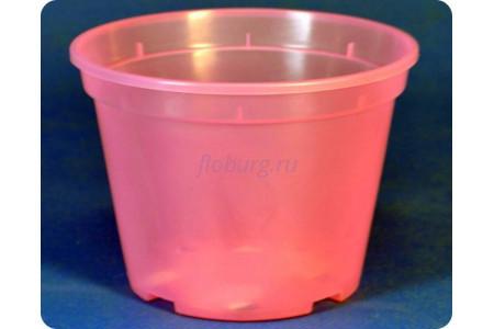 Кашпо пластиковое «Дренажное» d11см h8см (розово-прозрачное)