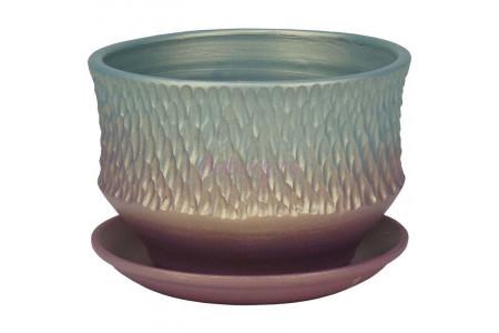 Горшок для цветов керамический с поддоном Павлин плошка темн.18см 3-34  38-234
