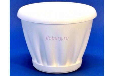 Горшок для цветов пластиковый с поддоном Знатный 0,45л (белый)
