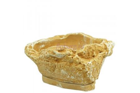 Горшок для цветов керамический с поддоном Монблан 0,5л светлый песчаник (KM-04-1)