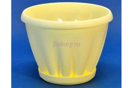 Горшок для цветов пластиковый с поддоном Знатный 2л (желтый)