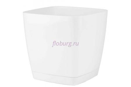 Горшок для цветов пластиковый с поддоном Toscana квадр.11л с под.(бел) (0736-011)