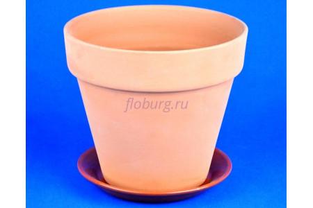 Горшок для цветов керамический с поддоном Конус 19см терракотовый ТР201/3