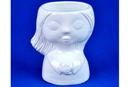 Кашпо керамическое Девочка (0201) бел. ГЛ0201