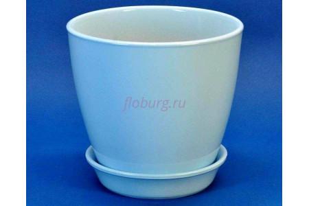 Горшок для цветов керамический с поддоном Виктория КП (10см) голубой