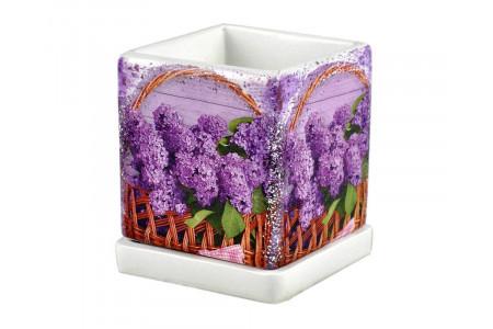 Горшок для цветов керамический с поддоном Кубик 1,1л сиреневый квадратный (NK-41-1)