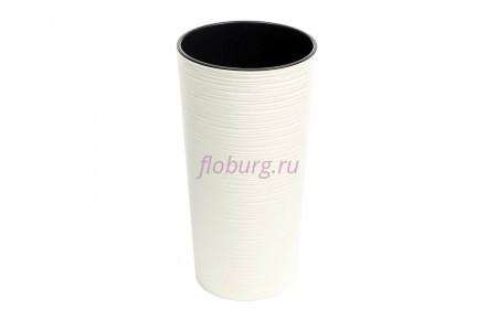 Кашпо со вставкой пластиковое без поддона и дренажного отверстия Lilia dluto 30x57см (крем) 727-74