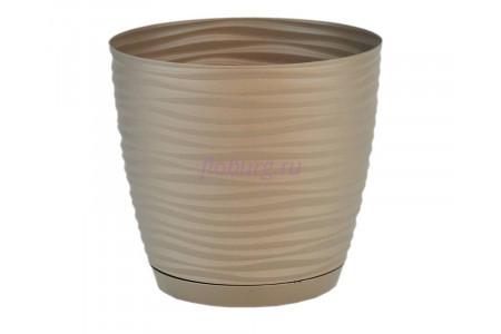 Горшок для цветов пластиковый с поддоном Sahara petit  0,65л (жемчуг-кор) 3000-051