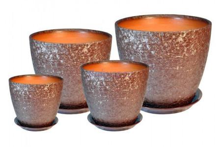 Горшки для цветов керамические в комплекте «ВН 04 Бутон ВИНИЛ шоколад» из 4-х