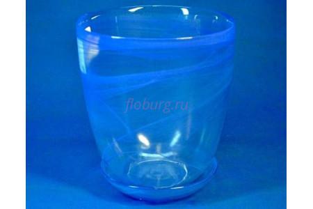 Горшок для орхидей стеклянный  «№3 алебастр  голубой»