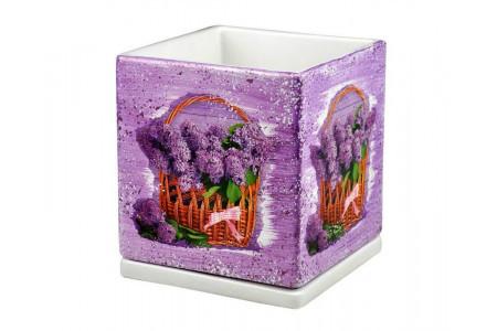 Горшок для цветов керамический с поддоном Кубик d20см (NK25/3)