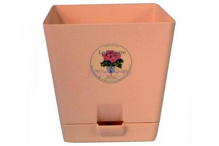 Горшок для цветов пластиковый с поддоном «Le parterre» 1,0л (бежевый)