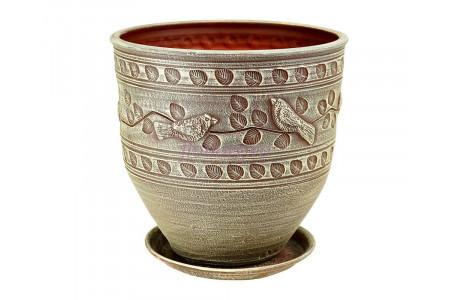 Горшок для цветов керамический с поддоном Птицы корич.3  75-325  5-25