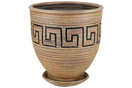 Горшок для цветов керамический с поддоном Меандр коба беж.35см 5-01  12-301