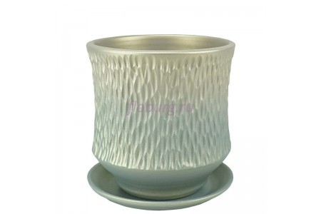 Горшок для цветов керамический с поддоном Павлин цилиндр светл.19см 3-33  39-133