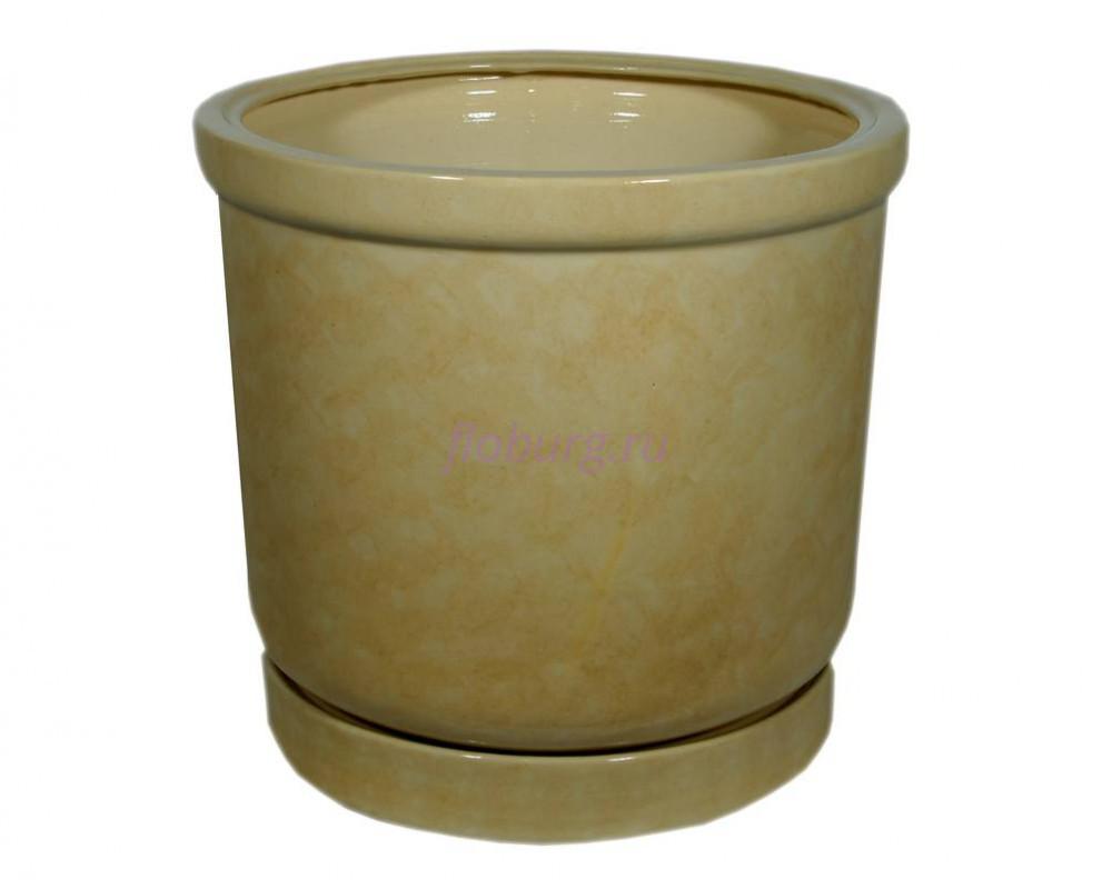 Горшок для цветов керамический с поддоном «Цилиндр №6» бежевый 31л
