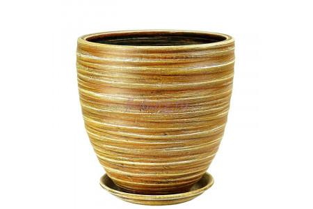 Горшок для цветов керамический с поддоном Модерн песок 3  55-313   4-13