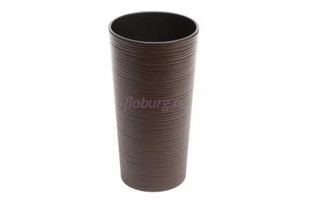 Кашпо со вставкой пластиковое без поддона и дренажного отверстия Lilia dluto 30x57см (мокка) 727-83