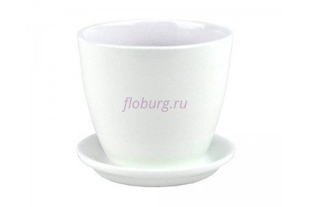 Горшок для цветов керамический с поддоном Бутон Глянец белый 10см ГЛ 01/0
