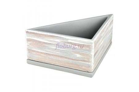 Горшок для цветов керамический с поддоном ДВ-светлый Треугольник d28/h11см (NK01/32)