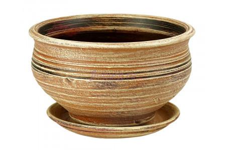 Горшок для цветов керамический с поддоном Кантри фиалочница беж.22см 3-01 (32-201)