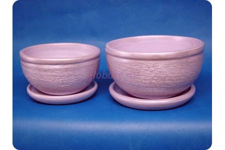 Комплект из 2-х горшков из керамики с поддонами «Фиалка металлик сиреневый»