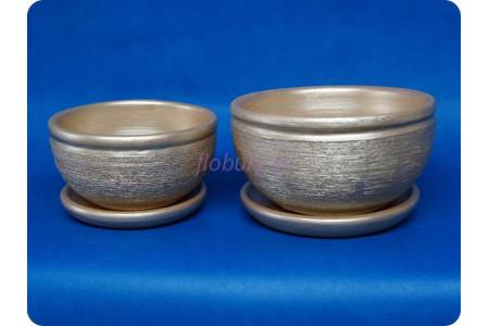 Комплект из 2-х горшков из керамики с поддонами «Фиалка металлик персик»
