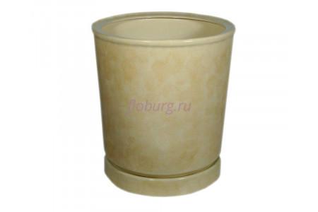 Горшок для цветов керамический с поддоном «Вазон №7» бежевый 35л