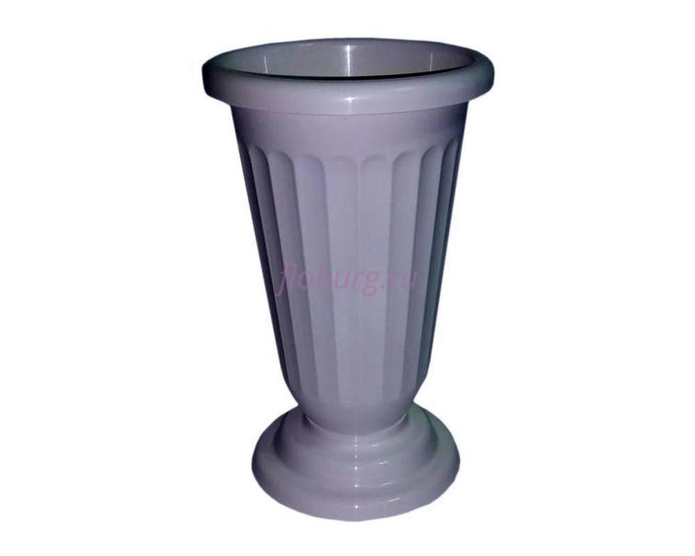 Вазон для цветов пластиковый на ножке малый рифленый белый