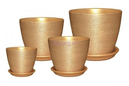 Горшки для цветов керамические в наборе из 4-х «Кассандра металлик персик»