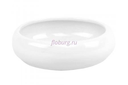 Кашпо керамическое без поддона и дренажного отверстия Бонсай 2 круглый (бел)  20к
