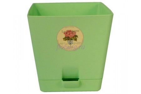 Горшок для цветов пластиковый с поддоном «Le parterre» 2,0л (зеленый)