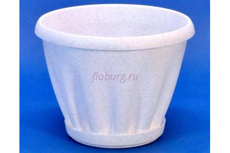 Горшок для цветов пластиковый с поддоном Знатный 2л (мрамор)